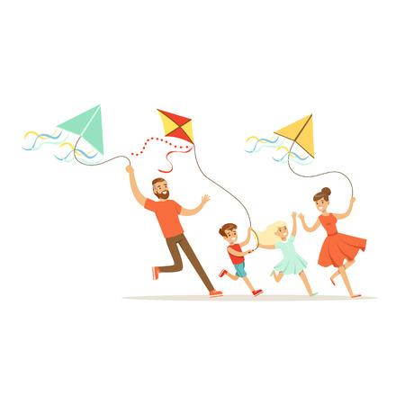 Gelukkige familie met twee jonge geitjes die pret vliegende vliegers, kleurrijke karakter vectorillustratie hebben Stock Illustratie