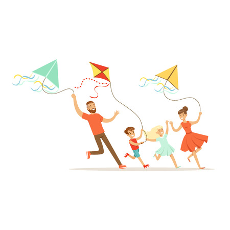 Happy family with two kids having fun flying kites, colorful character vector Illustration Illusztráció