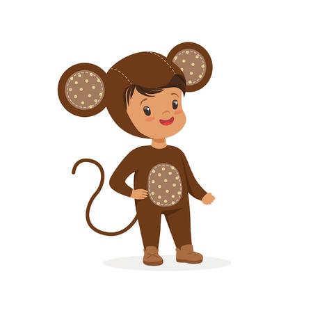 Lindo niño feliz vestido como un mono, vector de traje de carnaval de niños Ilustración de vector