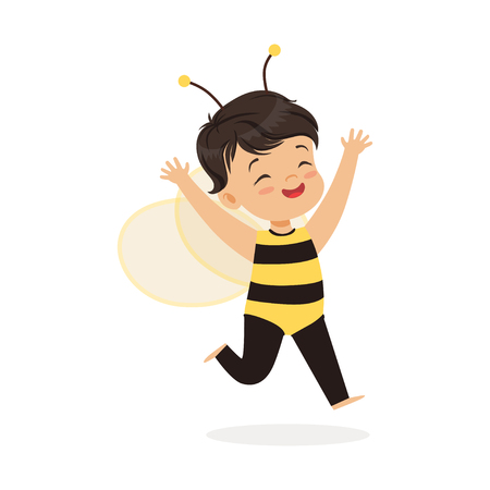 Cute happy little girl dressed as a bee, kids carnival costume vector Illustration Illustration