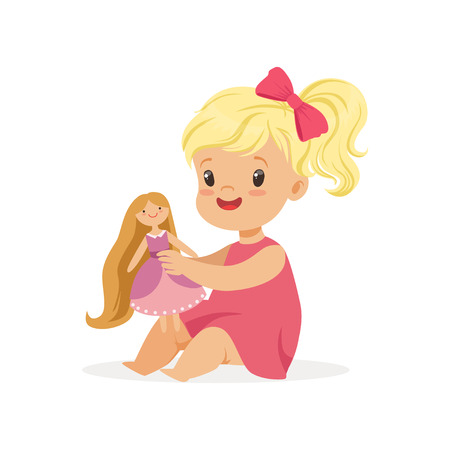 Sweet little girl in a pink dress playing with her doll, colorful character vector Illustration
