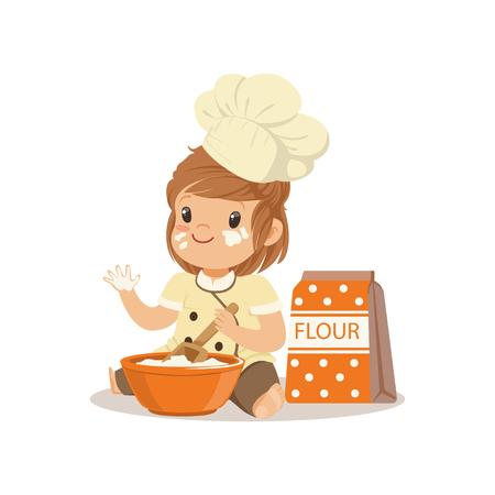 ボウルと泡立て器を焼く可愛い笑みを浮かべて小さな女の子シェフ ベクトル イラスト