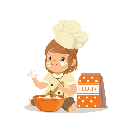Cute smiling little girl chef with bowl and whisk baking vector Illustration