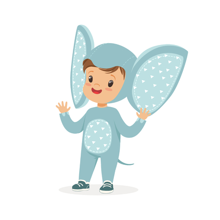 Cute happy boy dressed as an elephant, kids carnival costume vector Illustration