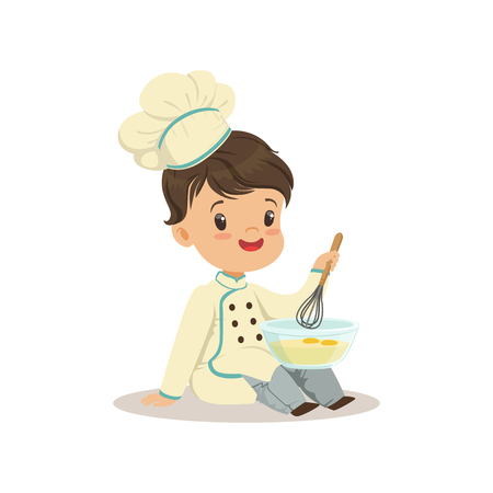 humor: Cute little boy chef with mixing bowl and a whisk vector Illustration