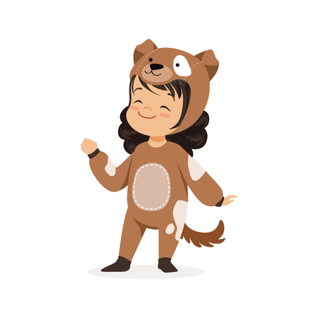 Cute happy little girl dressed as a brown puppy, kids carnival costume vector Illustration