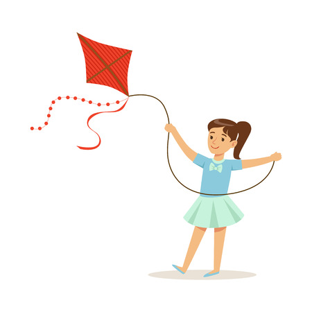 Beautiful girl playing with kite, kids outdoor activity colorful character vector Illustration