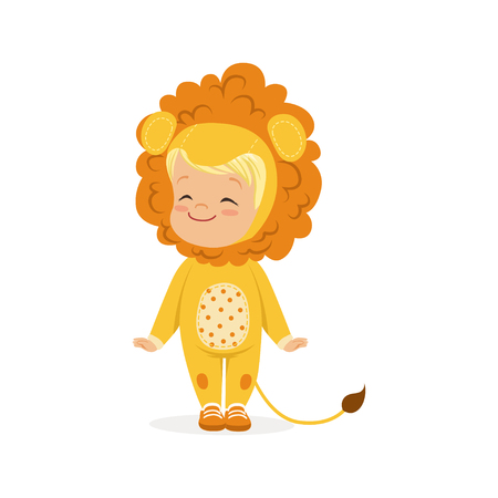 Cute happy little boy dressed as a lion cub, kids carnival costume vector Illustration