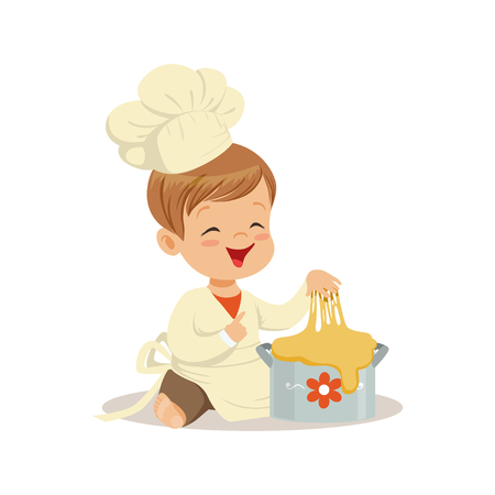 Cute smiling little boy chef kneading a dough vector Illustration Illustration