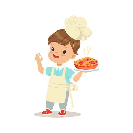Ładny mały chłopiec trzyma świeżo ugotowane ciasto ilustracja wektorowa