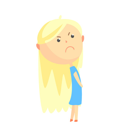 Sad offended cartoon blonde girl, colorful character vector Illustration