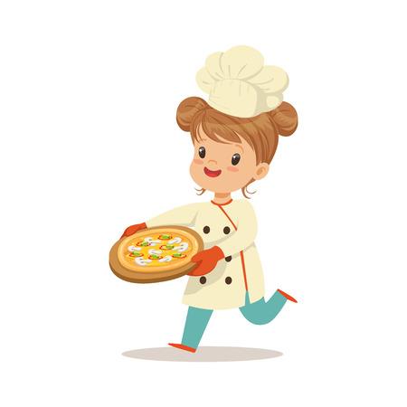 Leuk meisje die met een vers gekookte pizza vectorillustratie lopen