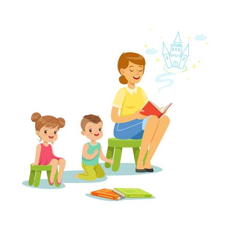 Teacher reading a fairytale to kids in preschool or kindergarten, colorful characters