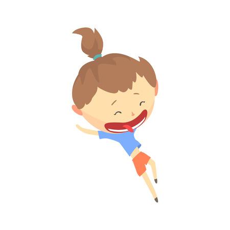 Fille de dessin animé heureux en cours d'exécution, vecteur d'activité de plein air enfants Illustration