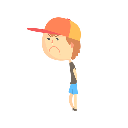 Sad offended cartoon boy standing, colorful character vector Illustration