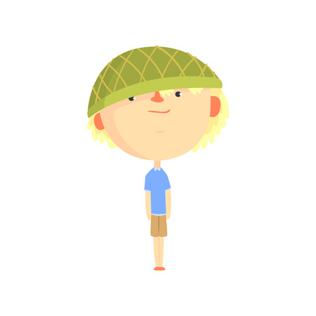 Funny ?artoon boy in green hat, colorful character vector Illustration