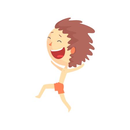 Feliz sonriente niño de dibujos animados en pantalones cortos rojos corriendo, vector de caracteres coloridos de la actividad al aire libre de los niños Foto de archivo - 82767808