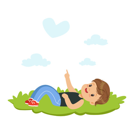 Sweet little boy lying on a grass and dreaming looking on the sky, kids imagination and fantasy, colorful character vector Illustration Stock Vector - 82767809