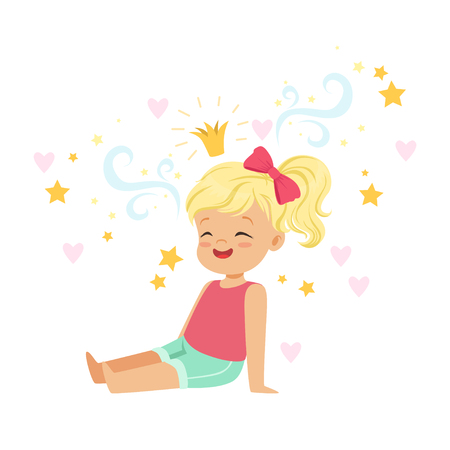 Cute blonde little girl sitting and dreaming about princess, kids imagination and fantasy, colorful character vector Illustration