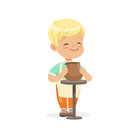 Cute little boy potter making ceramic pot, kids creativity, education and child development, colorful character vector Illustration