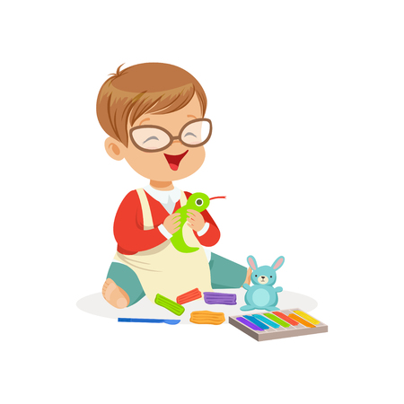 Cute little boy making figures from a plasticine, kids creativity vector Illustration Çizim