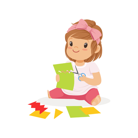 Cute little girl ?utting an application details, kids creativity, education and child development, colorful character vector Illustration Illustration