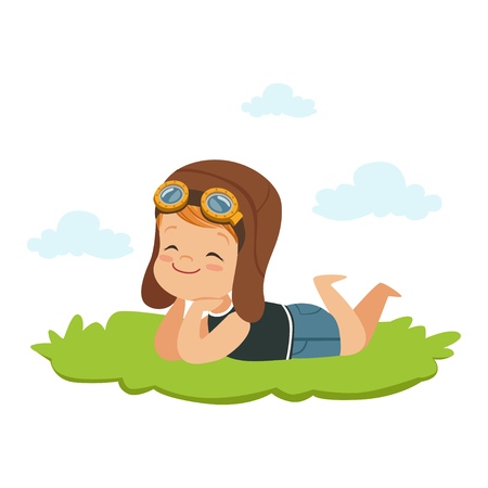 Sweet little boy in pilots helmet lying on his stomach on a grass and dreaming, kids imagination and fantasy, colorful character vector Illustration Illustration