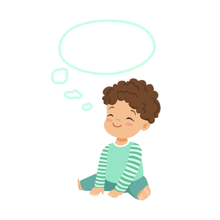 Adorable little boy dreaming with a thought bubble, kids imagination and fantasy, colorful character vector Illustration Illustration