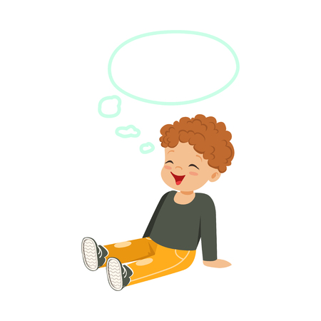 Sweet little redhead boy dreaming with a thought bubble sitting on the floor, kids imagination and fantasy, colorful character vector Illustration Illustration