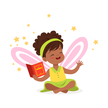 Sweet african little girl with a book dreaming about fairytale, kids imagination and fantasy, colorful character vector Illustration