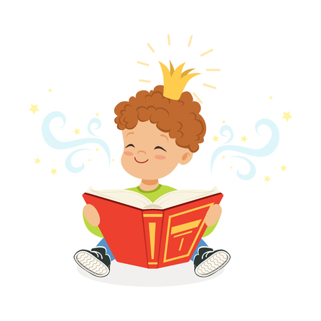 Sweet little boy reading a book and dreaming about fairytale, kids imagination and fantasy, colorful character vector Illustration
