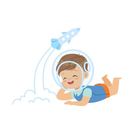 Dulce niño en el casco de los astronautas tumbado boca abajo y jugando con el juguete del cohete, la imaginación y la fantasía de los niños, personaje colorido vector ilustración