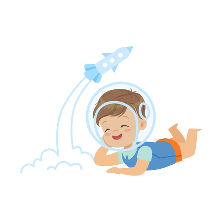 Sweet little boy in the astronauts helmet lying on his stomach and playing with rocket toy, kids imagination and fantasy, colorful character vector Illustration Illustration