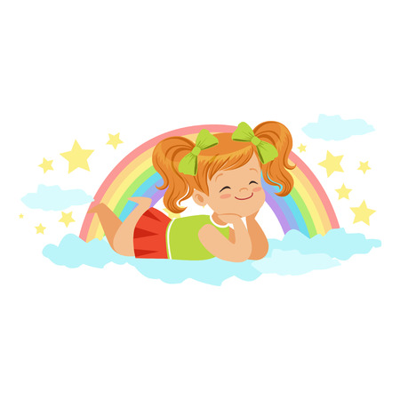 Nice little redhead girl lying on her stomach on a cloud next to the rainbow and dreaming, kids imagination and fantasy, colorful character vector Illustration Illustration