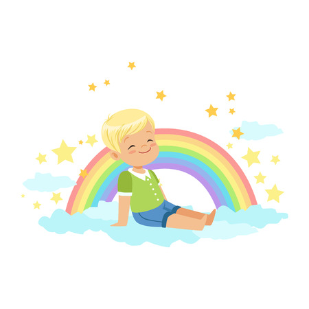 Adorable little blonde boy sitting on a cloud next to the rainbow and dreaming, kids imagination and fantasy, colorful character vector Illustration Illustration