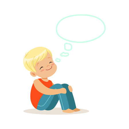 Happy blonde little boy dreaming with a thought bubble, kids imagination and fantasy, colorful character vector Illustration