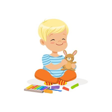 ? Ute kleine jongen spelen met plasticine, kinderen creativiteit vector illustratie Stock Illustratie