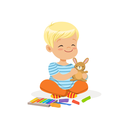 ?ute little boy playing with plasticine, kids creativity vector Illustration