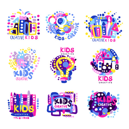 Creative kids set of colorful graphic templates, hand drawn vector Illustrations Illustration