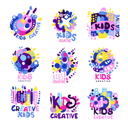 humor: Kid creative set of colorful graphic templates hand drawn vector Illustrations