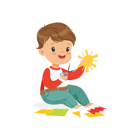 Cute boy ?utting an application details, kids creativity, education and child development, colorful character vector Illustration