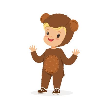 Lindo niño feliz vestido como un oso, vector de traje de carnaval de niños Ilustración de vector