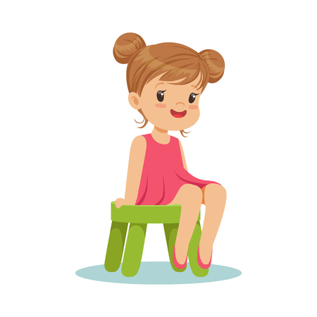 Beautiful little girl sitting on a small green stool, colorful character vector Illustration  イラスト・ベクター素材
