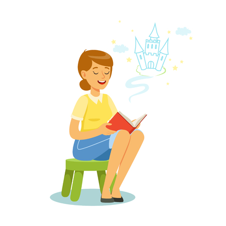 Beautiful woman sitting on the kids small stool and reading fairytale out loud, colorful character vector Illustration