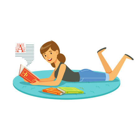 Beautiful woman reading a book while lying on her stomach colorful character