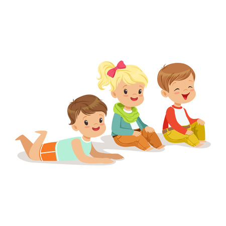 Sweet little kids sitting and lying on the floor, colorful character Illustration