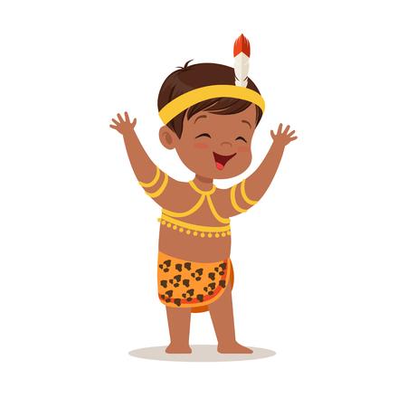 アフリカのカラフルな文字のナショナル ・ コスチュームを着て少年ベクトル イラスト