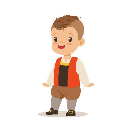 フランスのカラフルな文字のナショナル ・ コスチュームを着て少年ベクトル イラスト