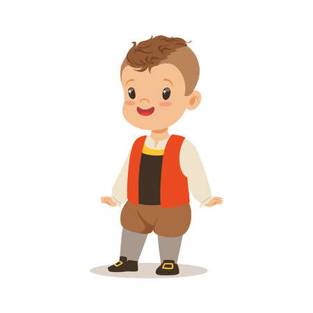 Boy wearing national costume of France colorful character vector Illustration