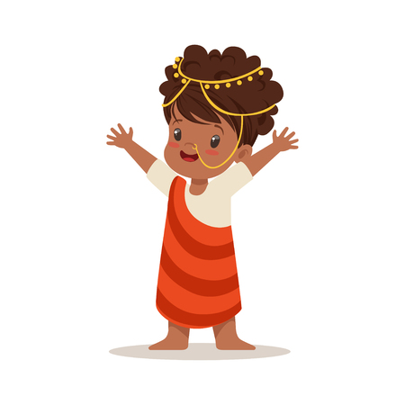 Girl wearing national costume of Africa colorful character vector Illustration